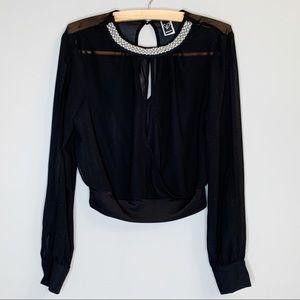 Windsor sheer black beaded collar crop open blouse